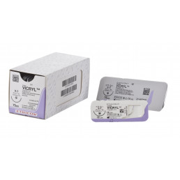 Викрил №0 W9376 (12шт) фиолет., 75см, кол-реж, 45мм, 1/2. ETHICON