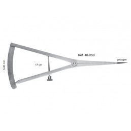 40-05B Кронциркуль (микрометр) изогнутый, шкала 0-40 мм, длина 17 см