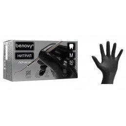 Перчатки нитрил, 100шт, Черные BENOVY  XL (9-10) Малайзия