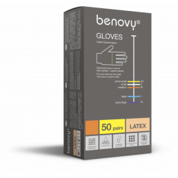 Перчатки латекс (1хлор) 100шт, Benovy, L (8-9)