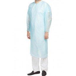 Халат хирургический стерильный ИНМЕДИЗ, Голубой (140см, размер XL-52-54, рукав на резинке, плотность 42гр/кв.м.)(1шт)