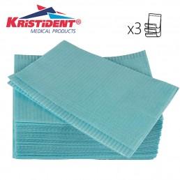 Салфетки д пациентов(нагрудники) 3-х сл Голубые  500шт КристиДент