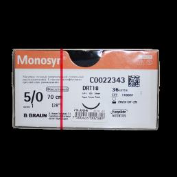 Моносин №5 (36шт) фиолет., 70см, колющая, 18мм, 3/8 (рассасывающийся) B.Braun (Aesculap Monosyn)