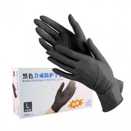 Перчатки Wally Plastic, 100шт, Черные L(8-9) (Валли Пластик)