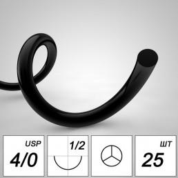 Полиамид №4 (12шт) черная, 75см, таперкат., 16мм, 1/2 (нерассасывающийся)