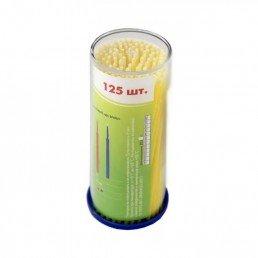 Аппликаторы ДС браш, средние-желтые (М=1,5мм) 125шт  длинные DentalCombo