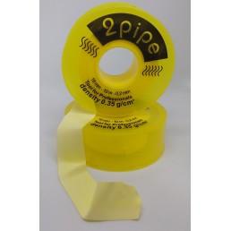 Фум лента Жёлтая, матовая (19мм*0.2мм*10м, плотность 0.35г/см3) 2pipe