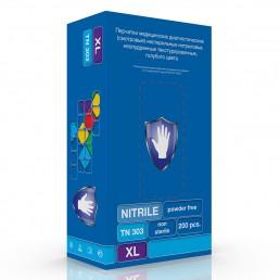 Перчатки нитрил, 200шт, Голубые Safe&Care TN303 XS(5-6)