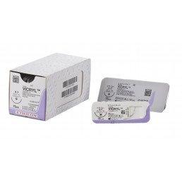 Викрил №1 W9496 (12шт) фиолет., 90см, обратно-реж, 48м, 1/2. ETHICON
