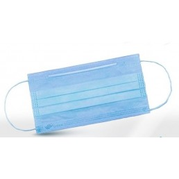 Маски на резинках (3шт/уп) Голубые 3-х сл