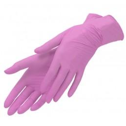 Перчатки нитрил, 100шт, Розовые AN316 S(6-7) Малайзия
