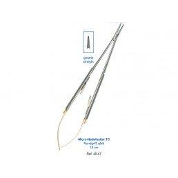 40-47 Иглодержатель микрохирургический прямой Micro-Nadelhalter TC, 18 см, карбит-вольфрам. вставки