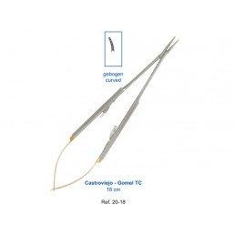 20-18 Иглодержатель микрохирургический изогнутый Castroviejo-Gomel TC,18 см карбит-вольфрам.вставки