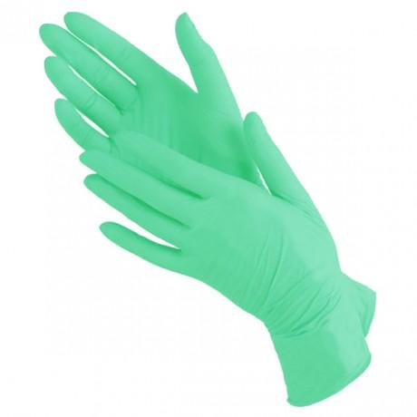 Перчатки нитрил, 100шт, Зелёные Benovy S (6-7)
